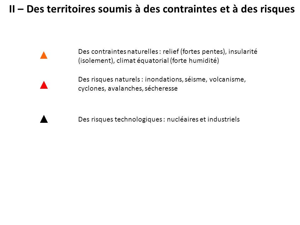 II – Des territoires soumis à des contraintes et à des risques Des contraintes naturelles : relief (fortes pentes), insularité (isolement), climat équ