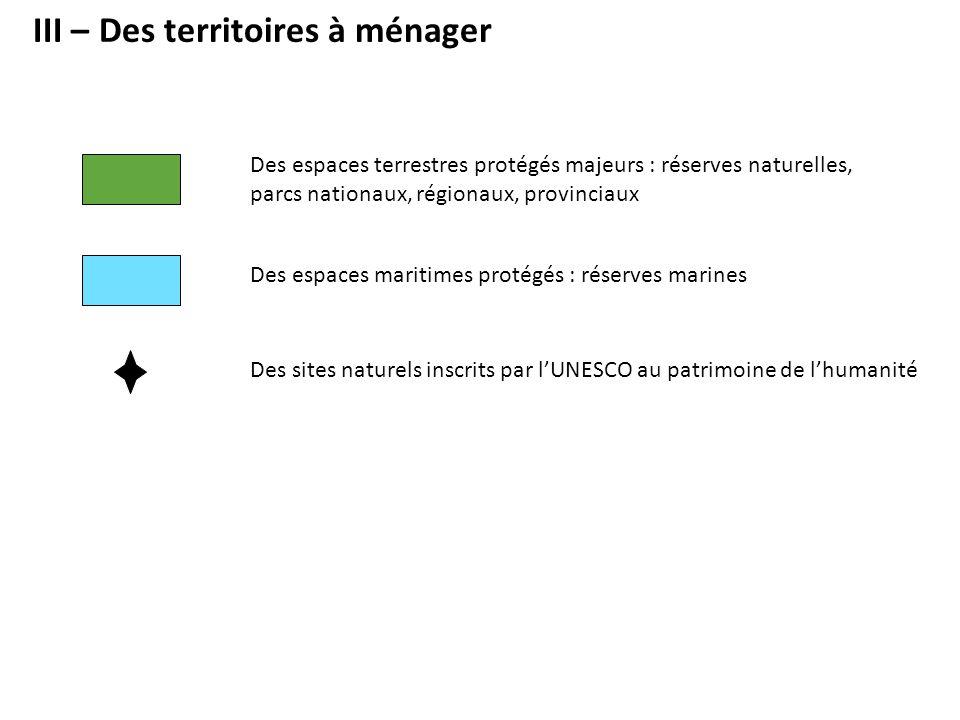III – Des territoires à ménager Des espaces terrestres protégés majeurs : réserves naturelles, parcs nationaux, régionaux, provinciaux Des sites natur