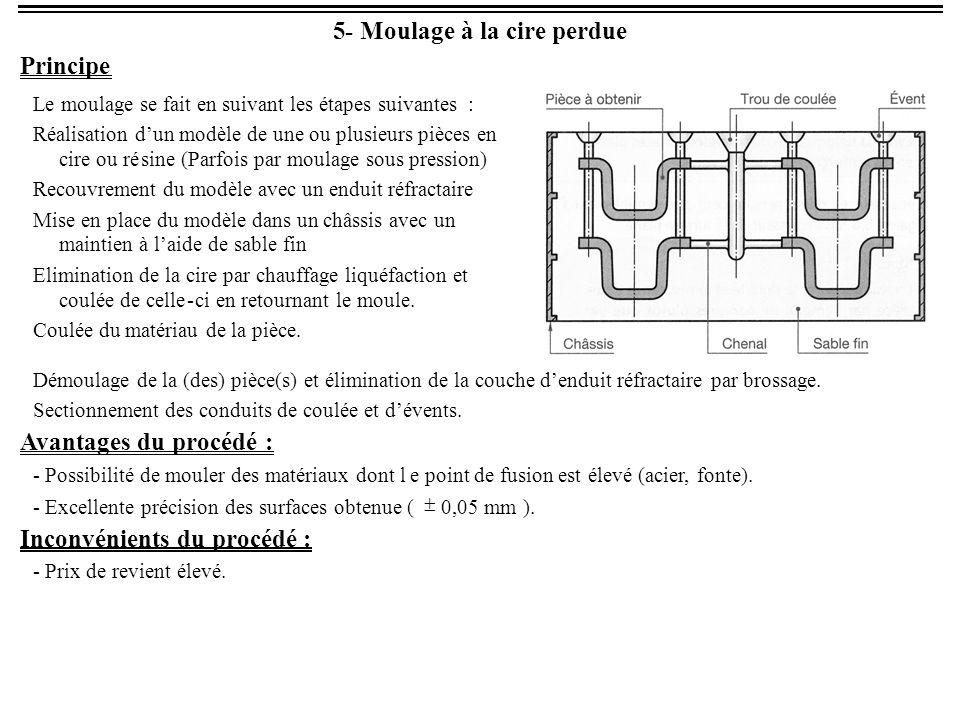 6- Tracé des pièces moulées Impératifs du procédé Le moulage d'une pièce s'effectue en trois étapes : Coulée et solidification du matériau puis démoulage de la pièce.