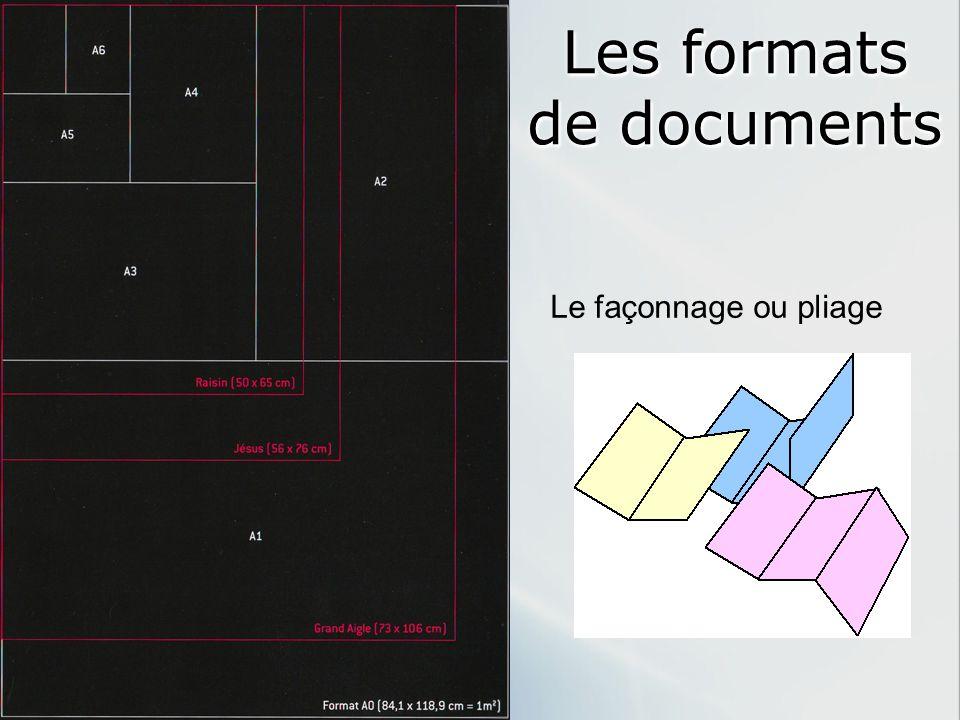 Les formats de documents Le façonnage ou pliage