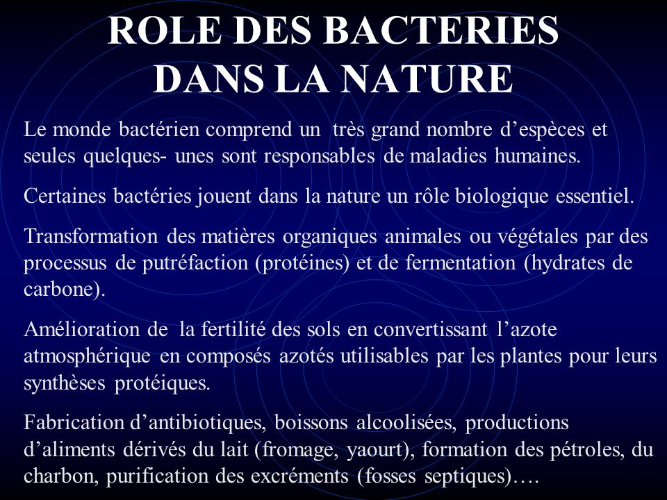 ROLE DES BACTERIES DANS LA NATURE Chez l'homme normal, la flore bactérienne de la peau, des muqueuses, du gros intestin joue un rôle biologique important : fabrication de vitamines (vit.K, B5, B12…).