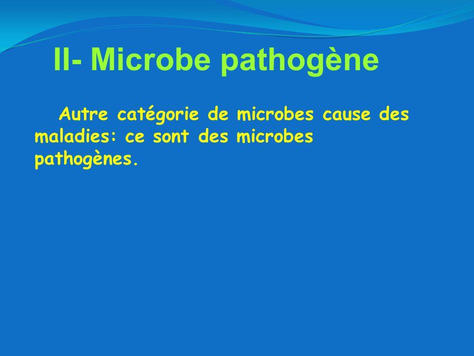 II- Microbe pathogène Autre catégorie de microbes cause des maladies: ce sont des microbes pathogènes.