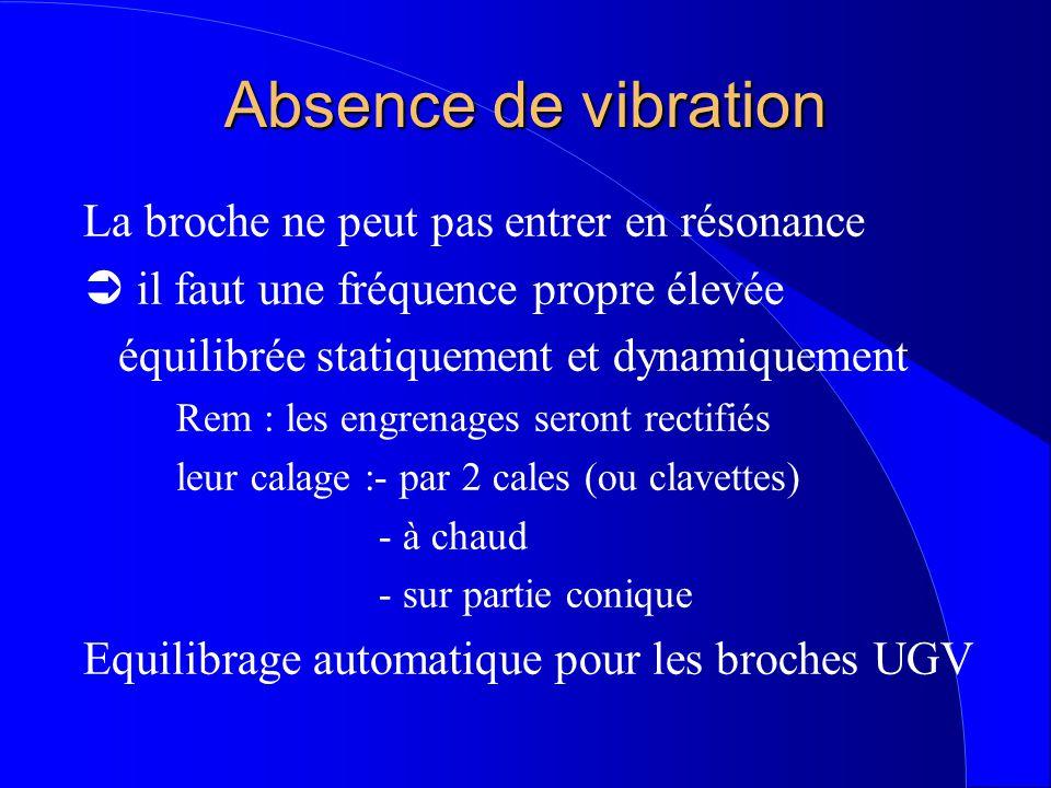 Absence de vibration La broche ne peut pas entrer en résonance  il faut une fréquence propre élevée équilibrée statiquement et dynamiquement Rem : les engrenages seront rectifiés leur calage :- par 2 cales (ou clavettes) - à chaud - sur partie conique Equilibrage automatique pour les broches UGV