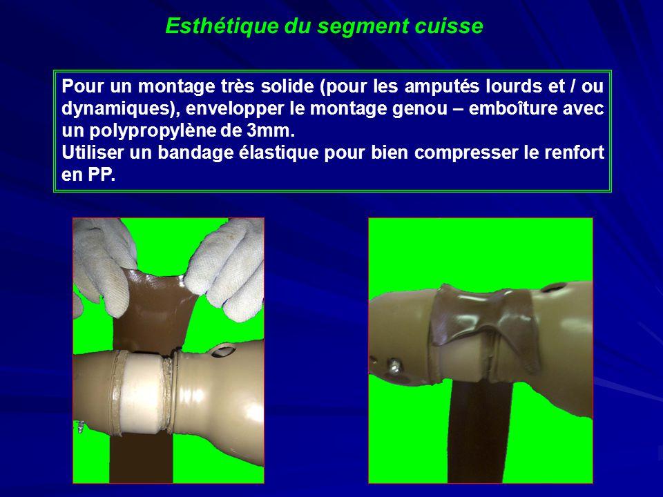 Pour un montage très solide (pour les amputés lourds et / ou dynamiques), envelopper le montage genou – emboîture avec un polypropylène de 3mm.