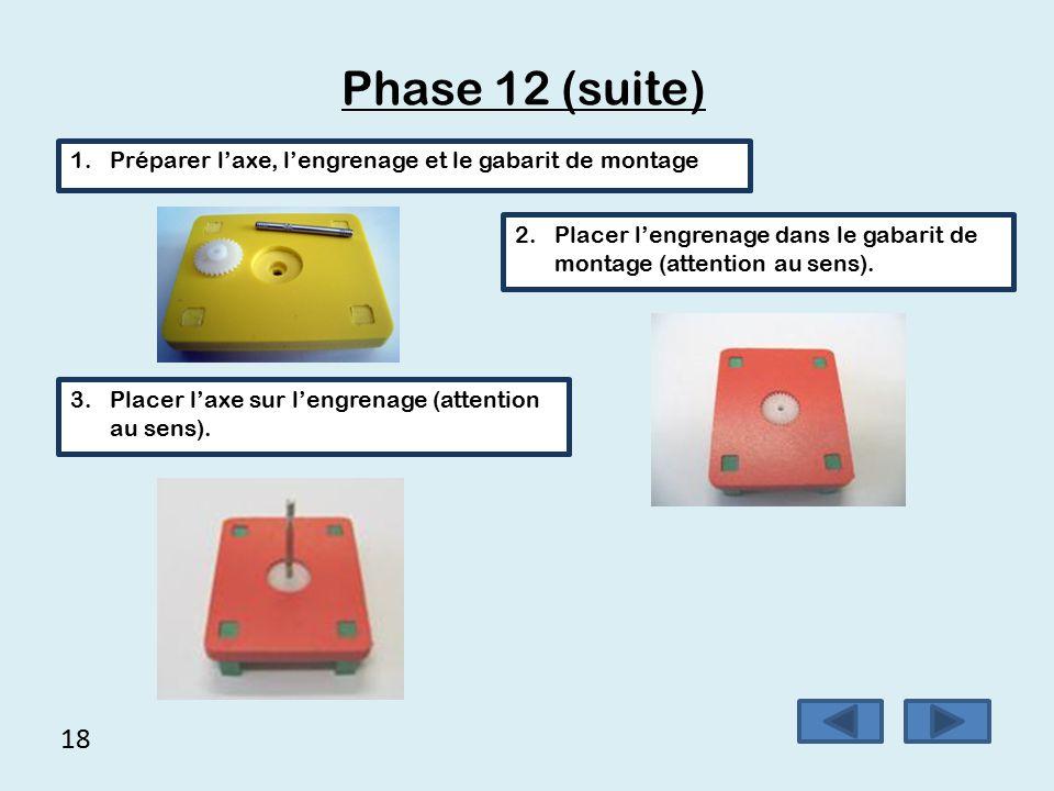 17 Phase 11 Montage de l'engrenage sur l'essieu arrière à l'aide d'un gabarit de montage.