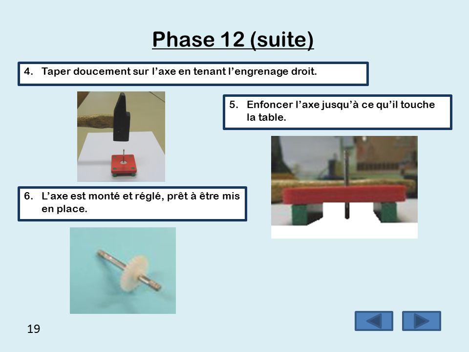 18 Phase 12 (suite) 1.Préparer l'axe, l'engrenage et le gabarit de montage 2.Placer l'engrenage dans le gabarit de montage (attention au sens).