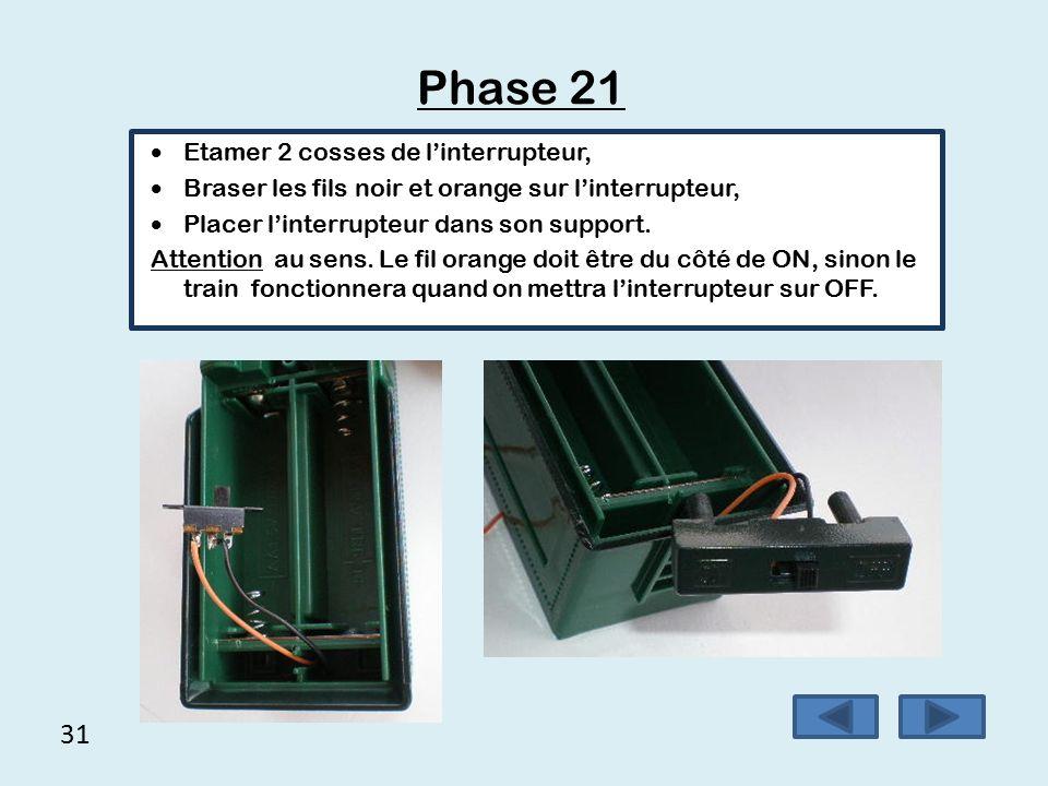 30 Phase 20 (suite) Passer le fil noir et le fil orange par le trou existant à l'arrière du wagon.