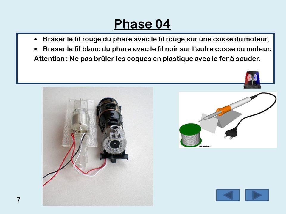 6 Phase 03 A l'aide d'une pile 1,5 Volt (LR6), contrôler le bon fonctionnement du module.
