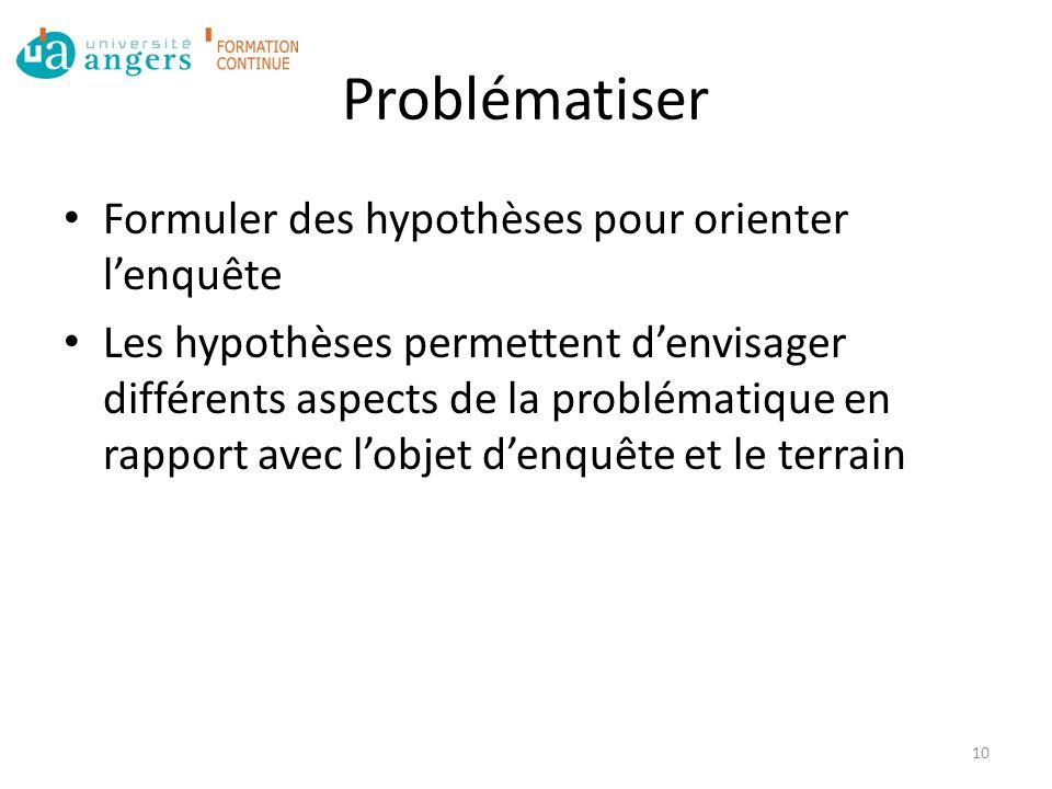 Problématiser Formuler des hypothèses pour orienter l'enquête Les hypothèses permettent d'envisager différents aspects de la problématique en rapport avec l'objet d'enquête et le terrain 10