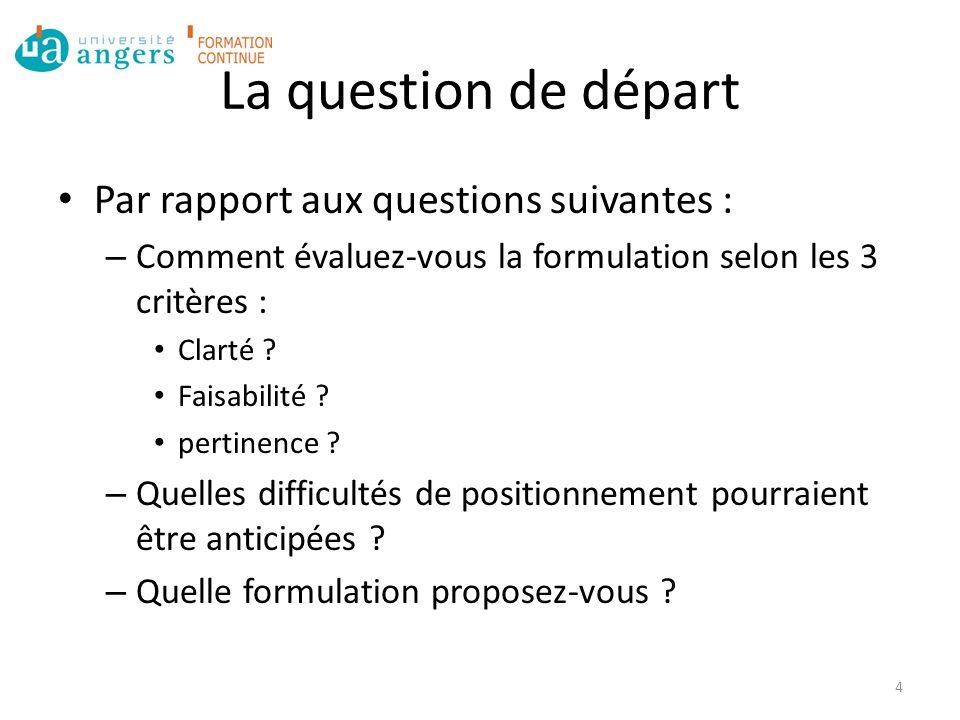La question de départ Par rapport aux questions suivantes : – Comment évaluez-vous la formulation selon les 3 critères : Clarté .