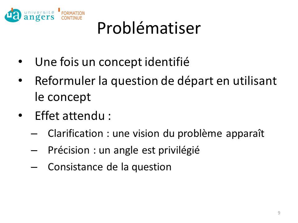 Problématiser Une fois un concept identifié Reformuler la question de départ en utilisant le concept Effet attendu : – Clarification : une vision du problème apparaît – Précision : un angle est privilégié – Consistance de la question 9