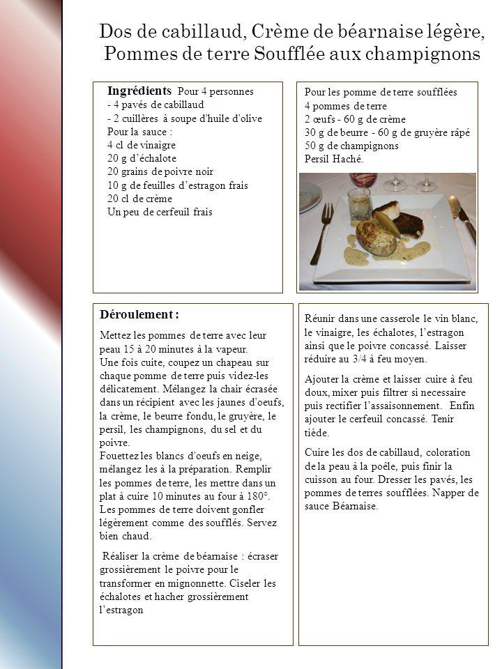 Dos de cabillaud, Crème de béarnaise légère, Pommes de terre Soufflée aux champignons Ingrédients Pour 4 personnes - 4 pavés de cabillaud - 2 cuillères à soupe d huile d olive Pour la sauce : 4 cl de vinaigre 20 g d'échalote 20 grains de poivre noir 10 g de feuilles d'estragon frais 20 cl de crème Un peu de cerfeuil frais Déroulement : Mettez les pommes de terre avec leur peau 15 à 20 minutes à la vapeur.