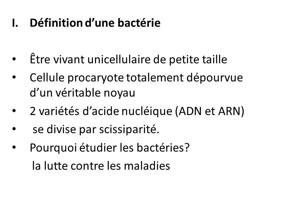 I.Définition d'une bactérie Être vivant unicellulaire de petite taille Cellule procaryote totalement dépourvue d'un véritable noyau 2 variétés d'acide nucléique (ADN et ARN) se divise par scissiparité.