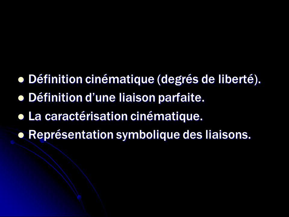 Définition cinématique (degrés de liberté). Définition cinématique (degrés de liberté). Définition d'une liaison parfaite. Définition d'une liaison pa
