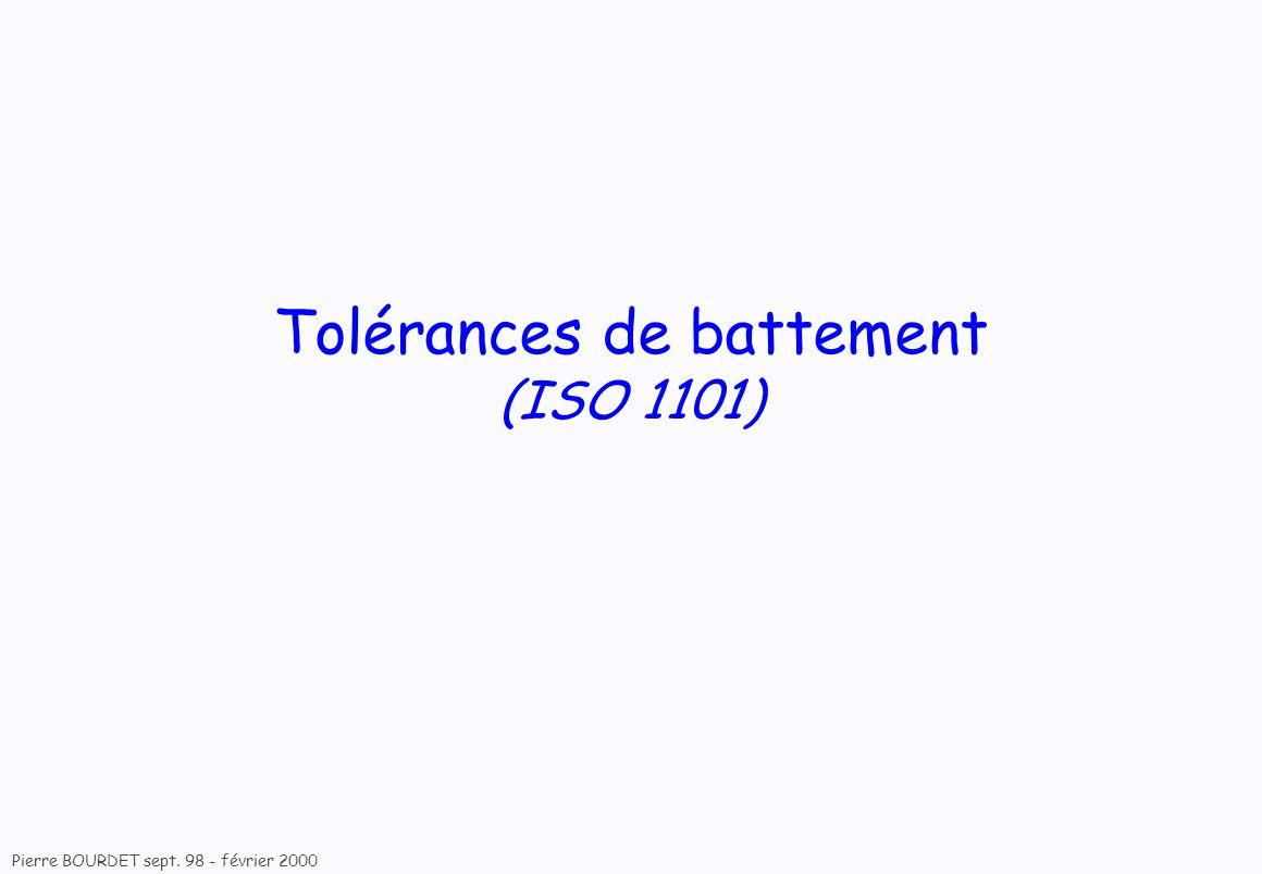 Pierre BOURDET sept. 98 - février 2000 Tolérances de battement (ISO 1101)