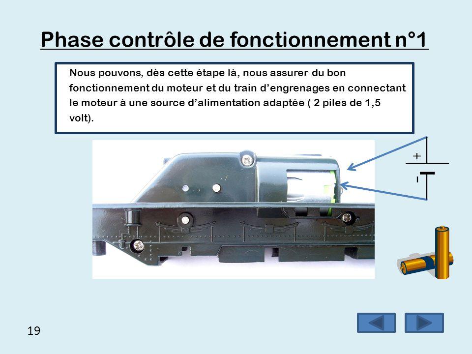 19 Phase contrôle de fonctionnement n°1 Nous pouvons, dès cette étape là, nous assurer du bon fonctionnement du moteur et du train d'engrenages en con