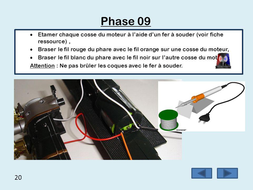 20 Phase 09  Etamer chaque cosse du moteur à l'aide d'un fer à souder (voir fiche ressource),  Braser le fil rouge du phare avec le fil orange sur u