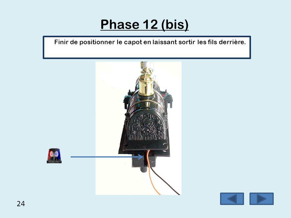 24 Phase 12 (bis) Finir de positionner le capot en laissant sortir les fils derrière.
