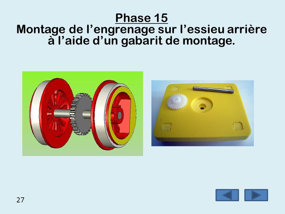 27 Phase 15 Montage de l'engrenage sur l'essieu arrière à l'aide d'un gabarit de montage.