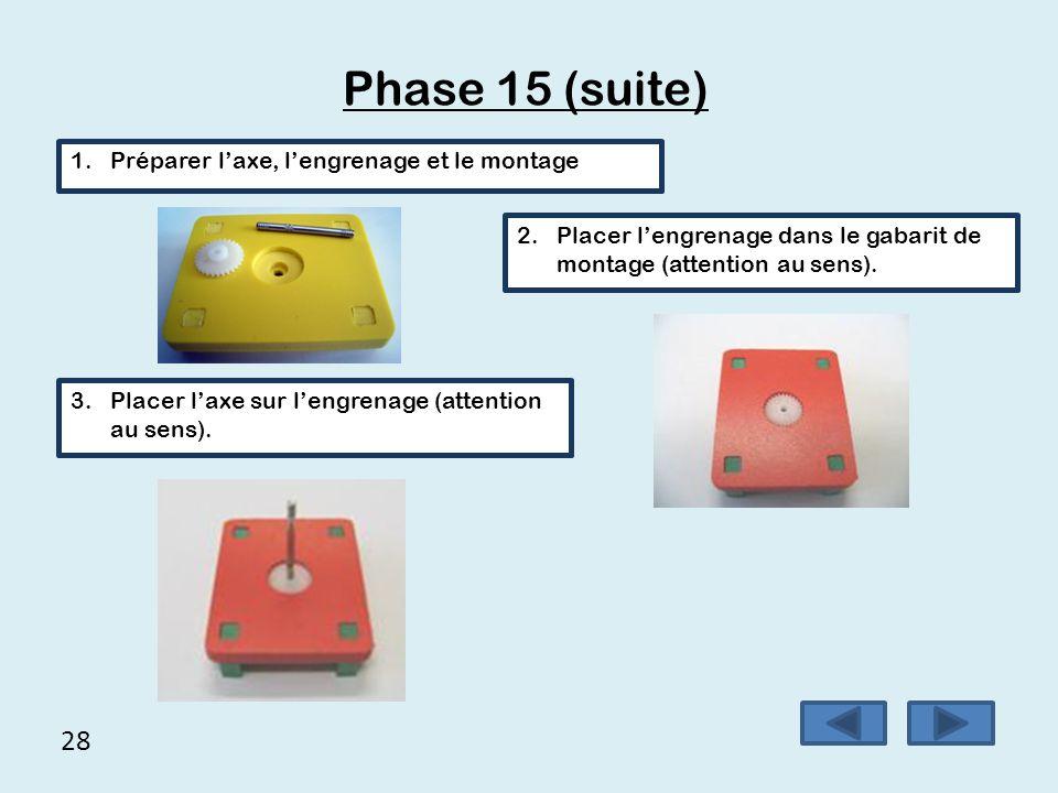 28 Phase 15 (suite) 1.Préparer l'axe, l'engrenage et le montage 2.Placer l'engrenage dans le gabarit de montage (attention au sens). 3.Placer l'axe su