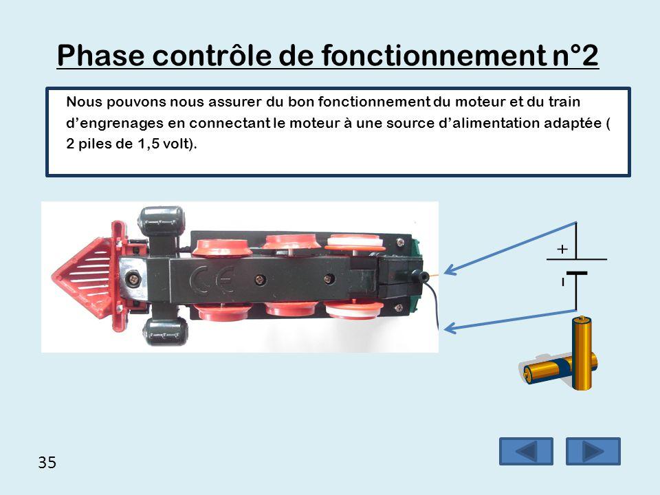 35 Phase contrôle de fonctionnement n°2 Nous pouvons nous assurer du bon fonctionnement du moteur et du train d'engrenages en connectant le moteur à u