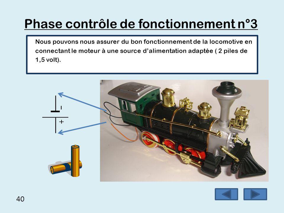 40 Phase contrôle de fonctionnement n°3 Nous pouvons nous assurer du bon fonctionnement de la locomotive en connectant le moteur à une source d'alimen