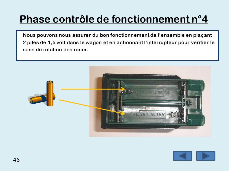 46 Phase contrôle de fonctionnement n°4 Nous pouvons nous assurer du bon fonctionnement de l'ensemble en plaçant 2 piles de 1,5 volt dans le wagon et