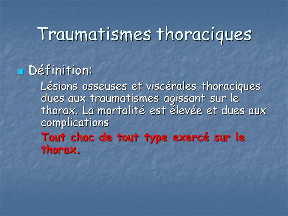 Traumatismes thoraciques Définition: Définition: Lésions osseuses et viscérales thoraciques dues aux traumatismes agissant sur le thorax. La mortalité