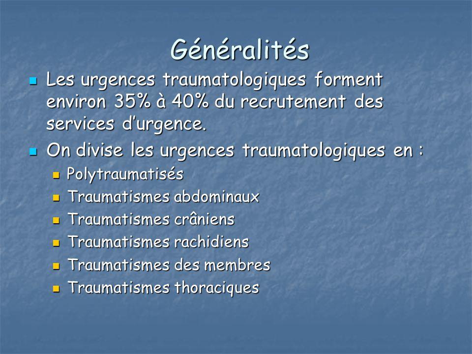 Généralités Généralités Les urgences traumatologiques forment environ 35% à 40% du recrutement des services d'urgence. Les urgences traumatologiques f