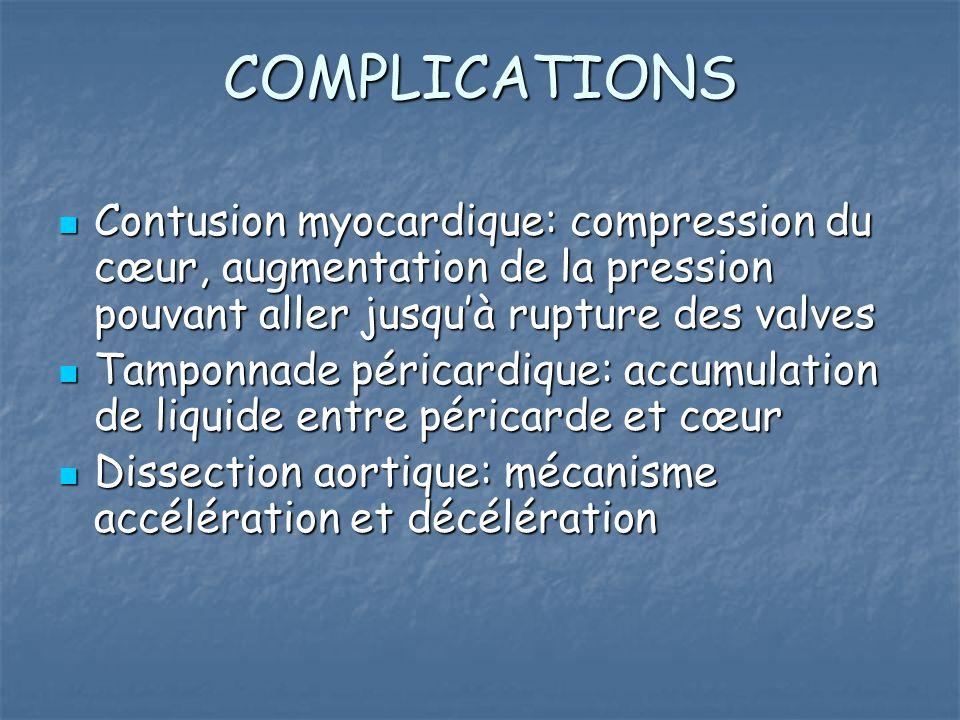 COMPLICATIONS Contusion myocardique: compression du cœur, augmentation de la pression pouvant aller jusqu'à rupture des valves Contusion myocardique: