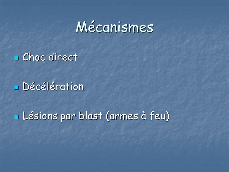 Mécanismes Choc direct Choc direct Décélération Décélération Lésions par blast (armes à feu) Lésions par blast (armes à feu)