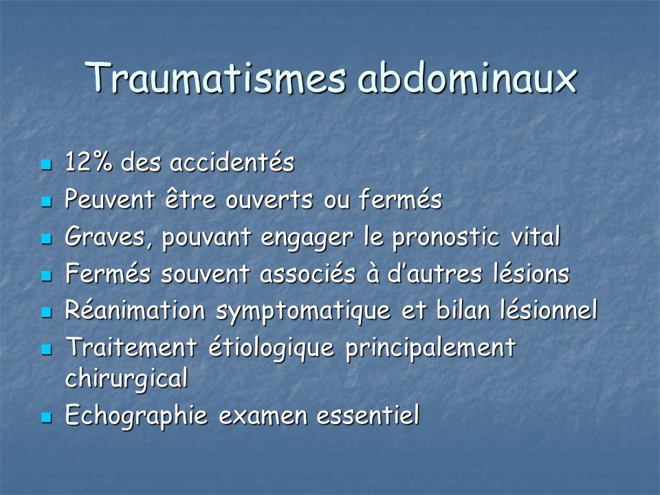 Traumatismes abdominaux 12% des accidentés 12% des accidentés Peuvent être ouverts ou fermés Peuvent être ouverts ou fermés Graves, pouvant engager le