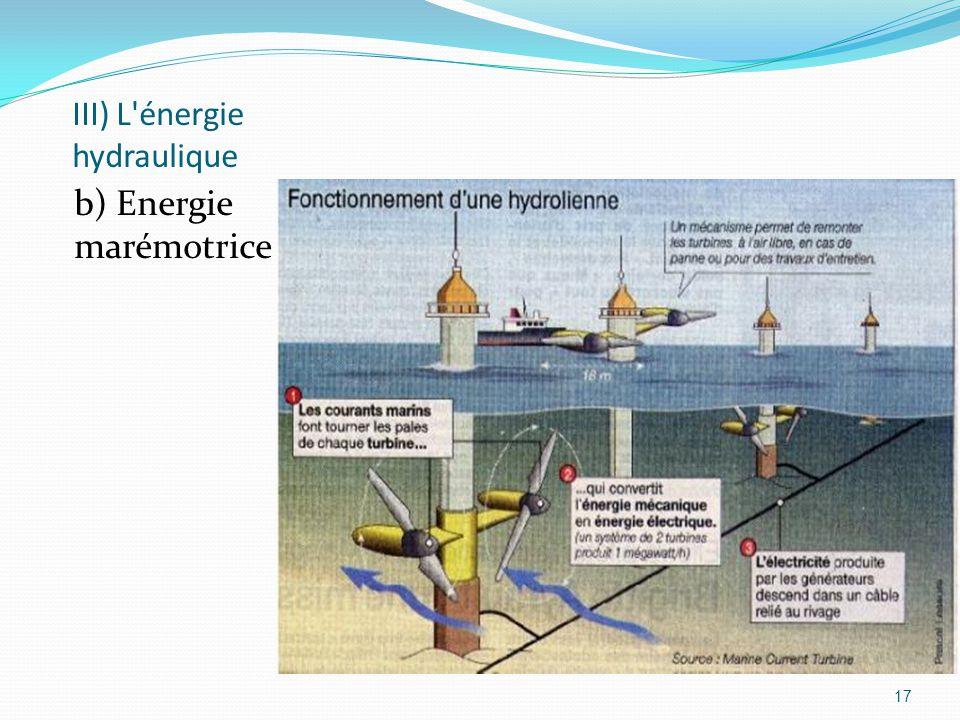 17 III) L'énergie hydraulique b) Energie marémotrice