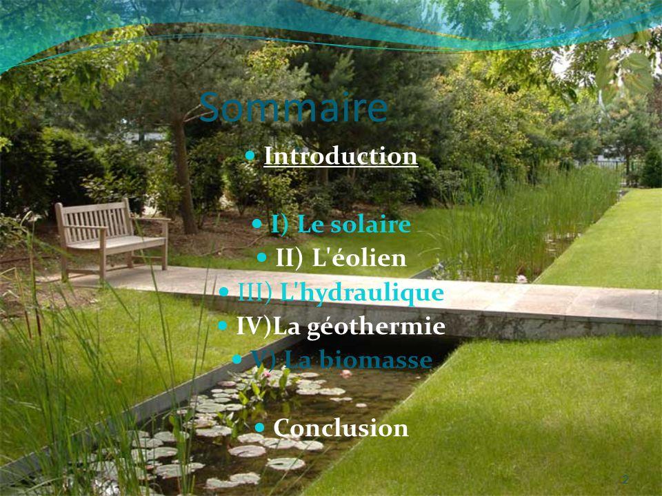 2 Sommaire Introduction I) Le solaire II) L éolien III) L hydraulique IV)La géothermie V) La biomasse Conclusion