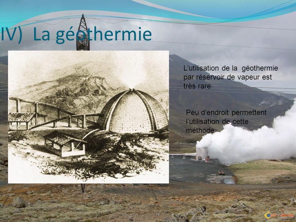 22 IV) La géothermie L'utilisation de la géothermie par réservoir de vapeur est très rare Peu d'endroit permettent l'utilisation de cette méthode