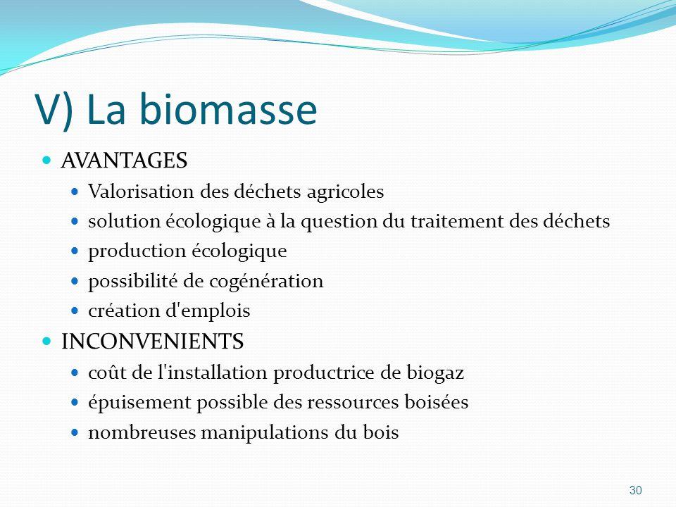 30 V) La biomasse AVANTAGES Valorisation des déchets agricoles solution écologique à la question du traitement des déchets production écologique possibilité de cogénération création d emplois INCONVENIENTS coût de l installation productrice de biogaz épuisement possible des ressources boisées nombreuses manipulations du bois