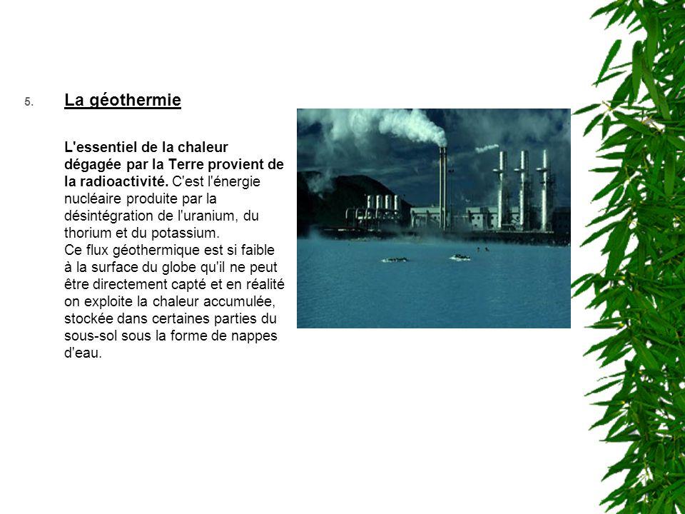 5. La géothermie L'essentiel de la chaleur dégagée par la Terre provient de la radioactivité. C'est l'énergie nucléaire produite par la désintégration