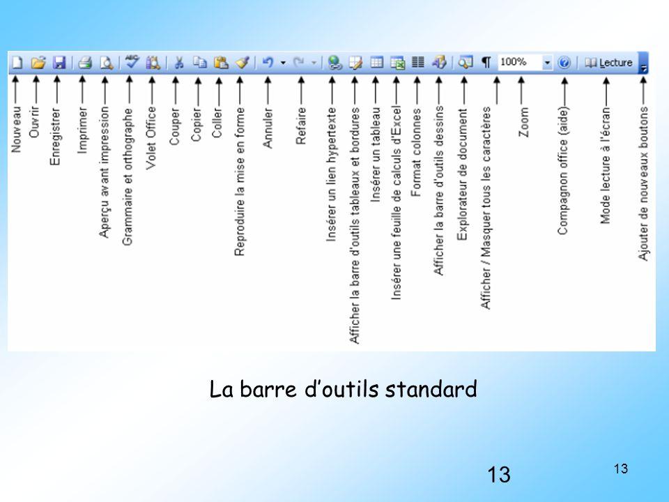 13 La barre d'outils standard