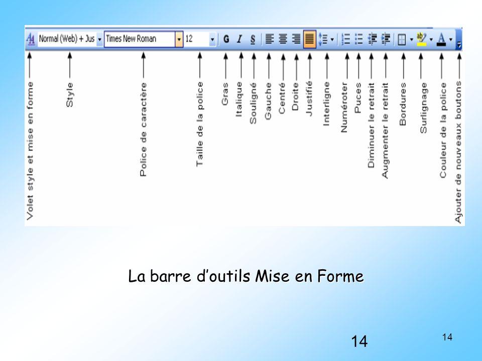 14 La barre d'outils Mise en Forme