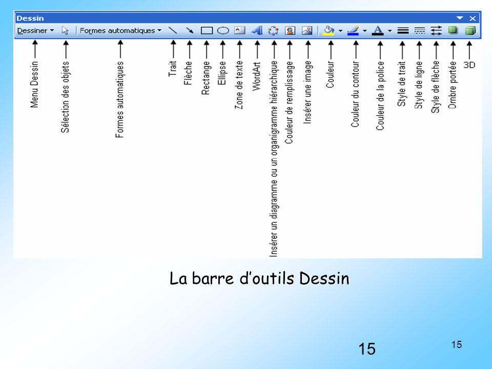 15 La barre d'outils Dessin