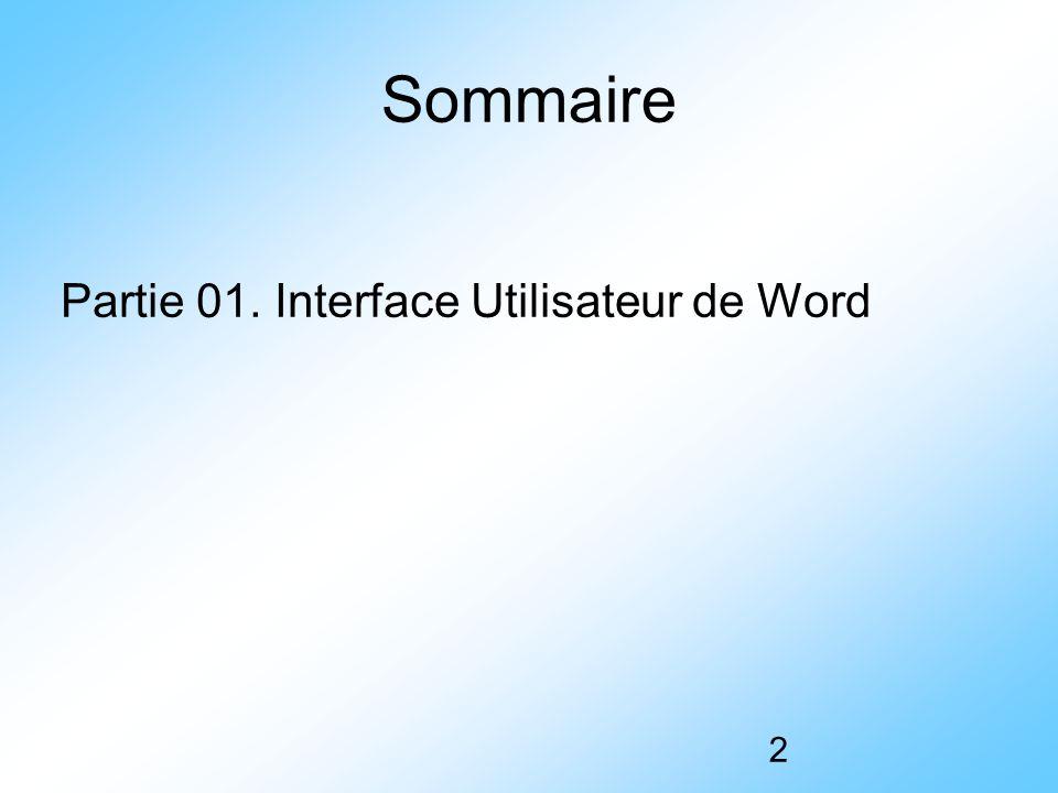 2 Sommaire Partie 01. Interface Utilisateur de Word
