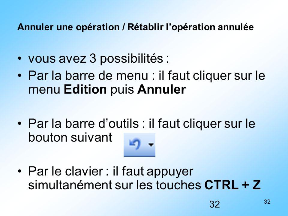 32 Annuler une opération / Rétablir l'opération annulée vous avez 3 possibilités : Par la barre de menu : il faut cliquer sur le menu Edition puis Ann