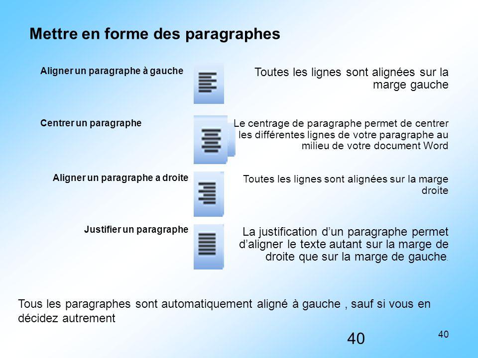 40 Aligner un paragraphe à gauche Toutes les lignes sont alignées sur la marge gauche Centrer un paragraphe Le centrage de paragraphe permet de centre