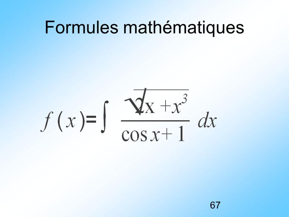67 Formules mathématiques