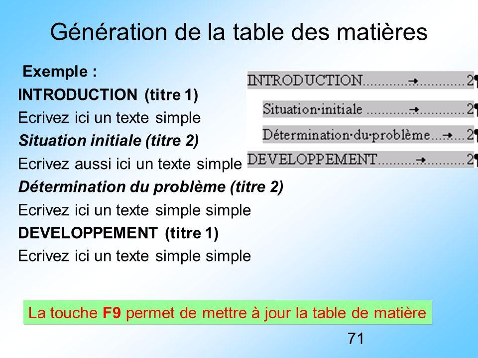 71 Génération de la table des matières Exemple : INTRODUCTION (titre 1) Ecrivez ici un texte simple Situation initiale (titre 2) Ecrivez aussi ici un