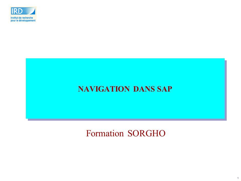 1 NAVIGATION DANS SAP Formation SORGHO