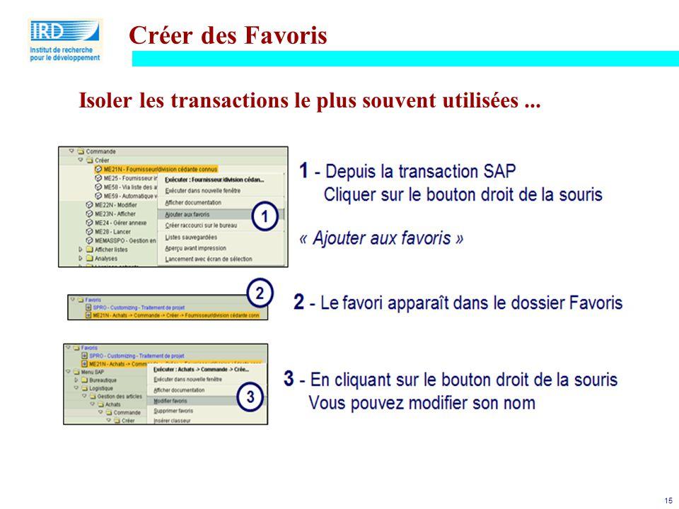 15 Créer des Favoris Isoler les transactions le plus souvent utilisées...