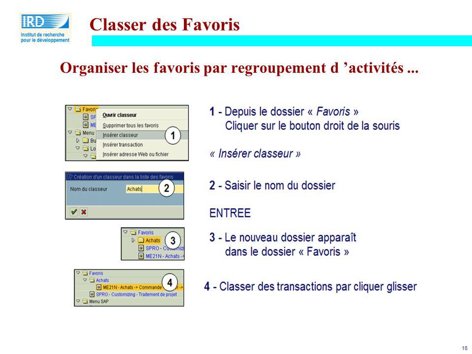 16 Classer des Favoris Organiser les favoris par regroupement d 'activités...