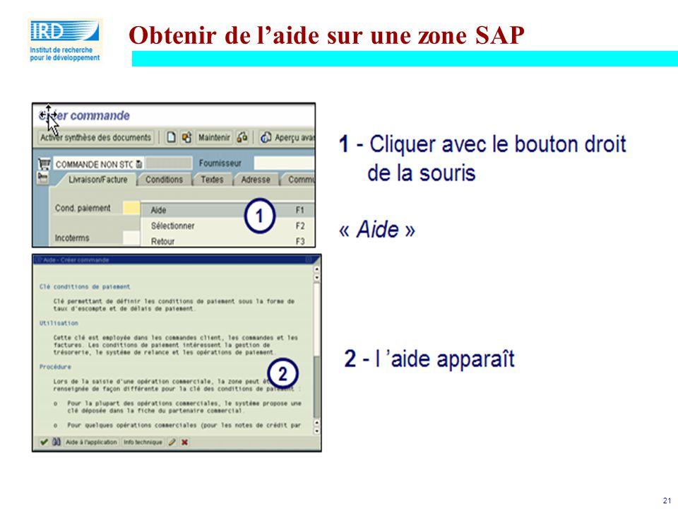 21 Obtenir de l'aide sur une zone SAP