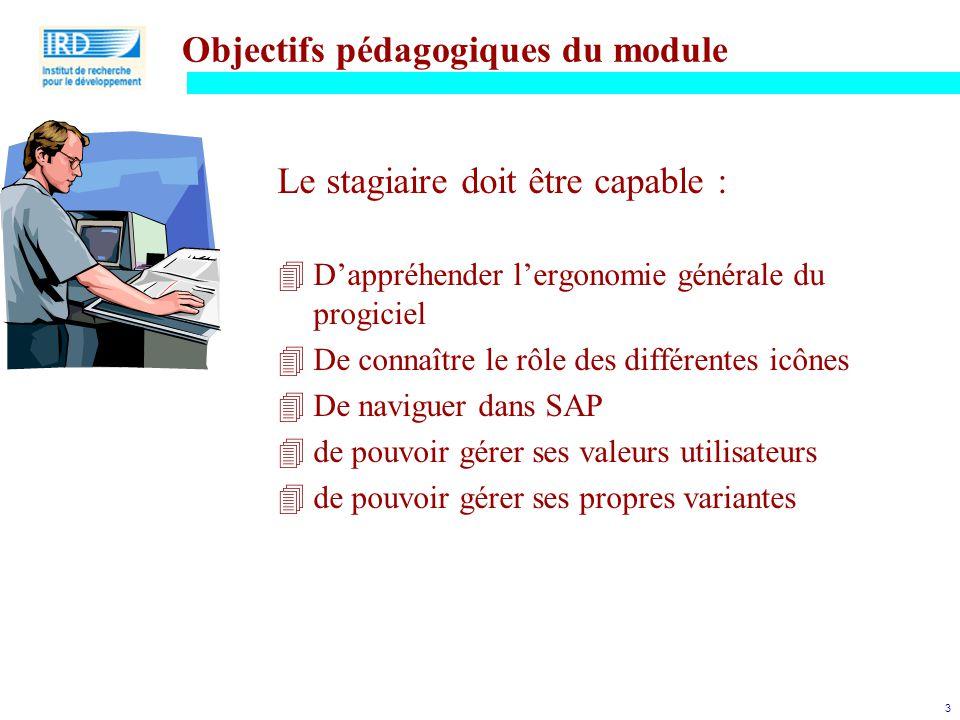 3 Objectifs pédagogiques du module Le stagiaire doit être capable : 4D'appréhender l'ergonomie générale du progiciel 4De connaître le rôle des différe